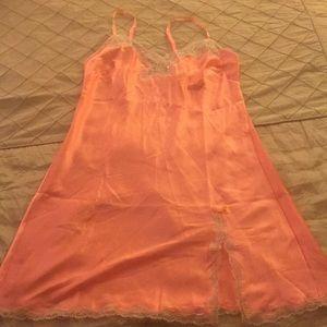 Victoria's Secret Light Orange Satin Slip Dress